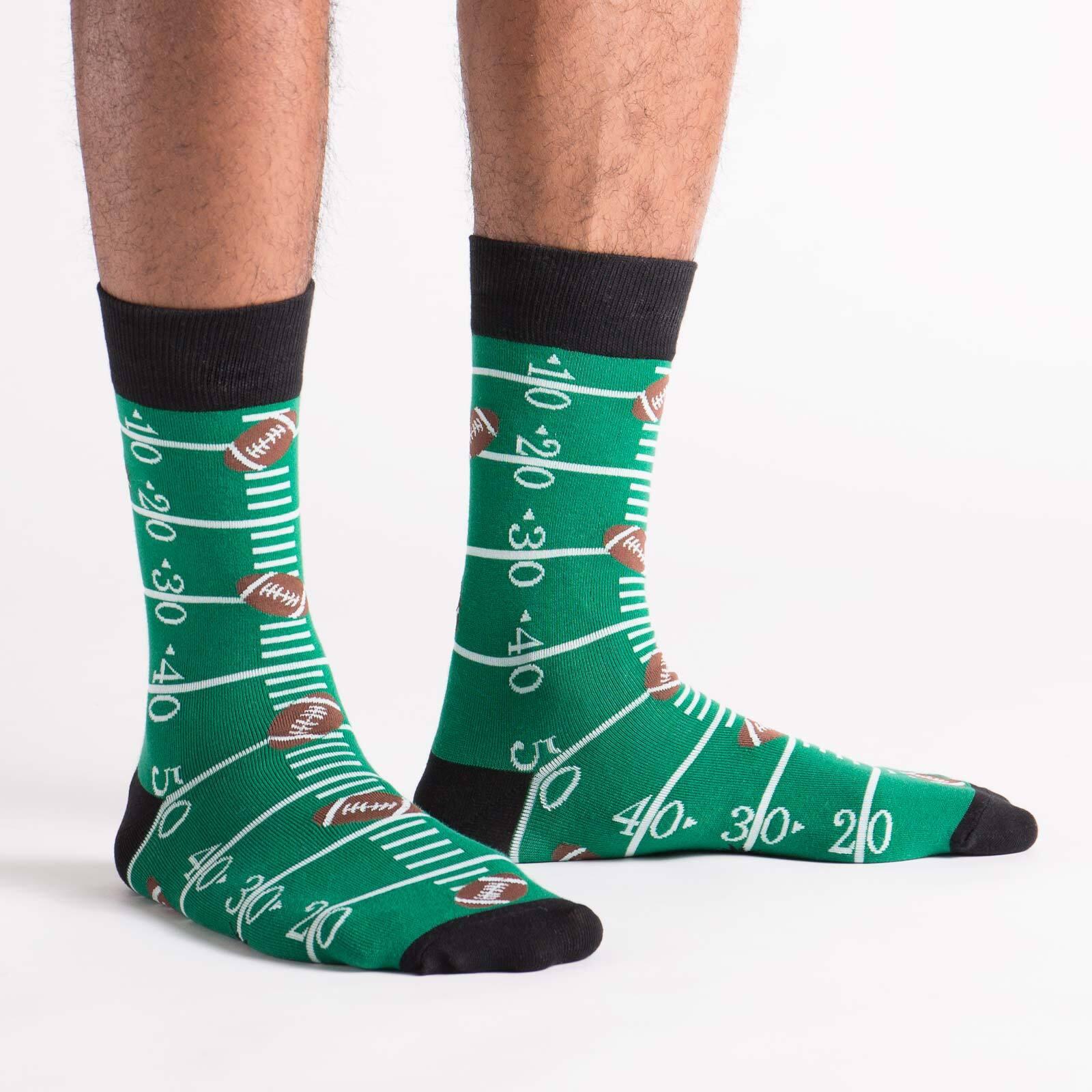 model side view of Touchdown - Football Crew Socks Green - Men's