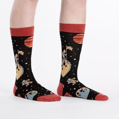 model wearing A Sock Odyssey - Space Crew Socks Black and Red - Men's