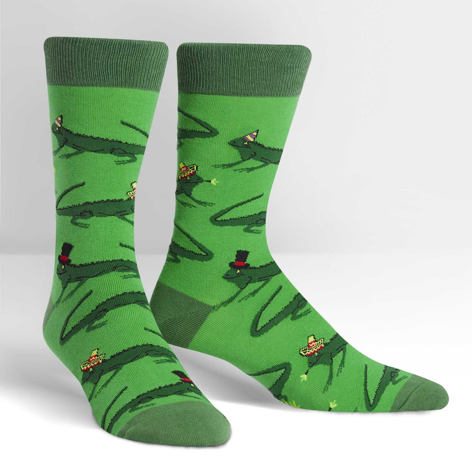 Iguana Party - Party Animal Green Men's Crew Socks - Sock It to Me in Green