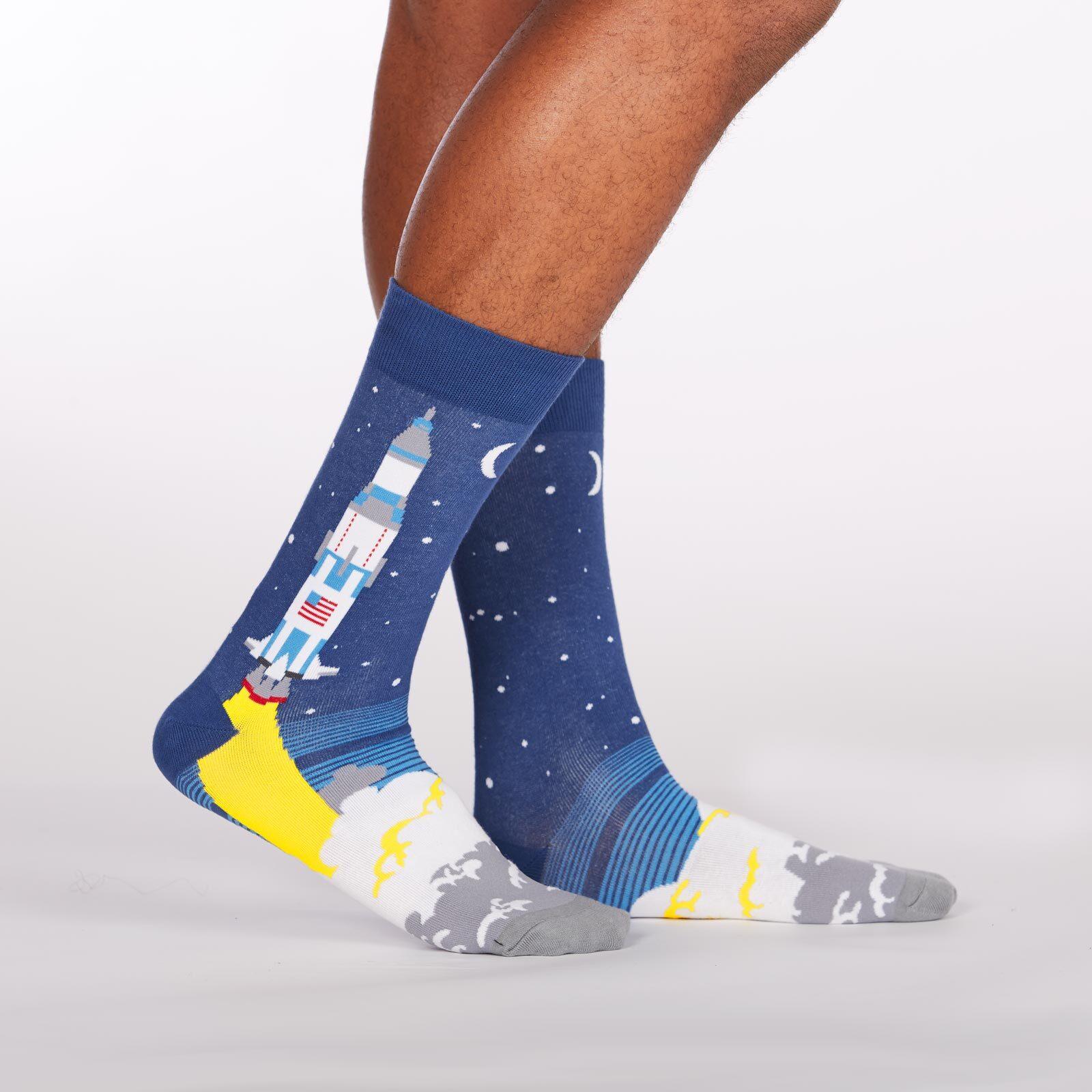 model side view of 3,2,1, Lift Off - Rocket Crew Socks Blue - Men's