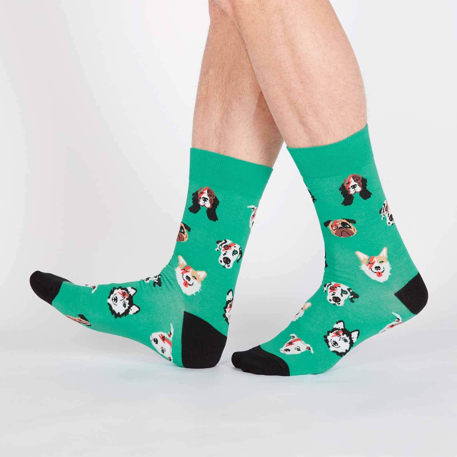 model wearing Dogs of Rock - Dogs Rocking Out Crew Socks Green - Men's