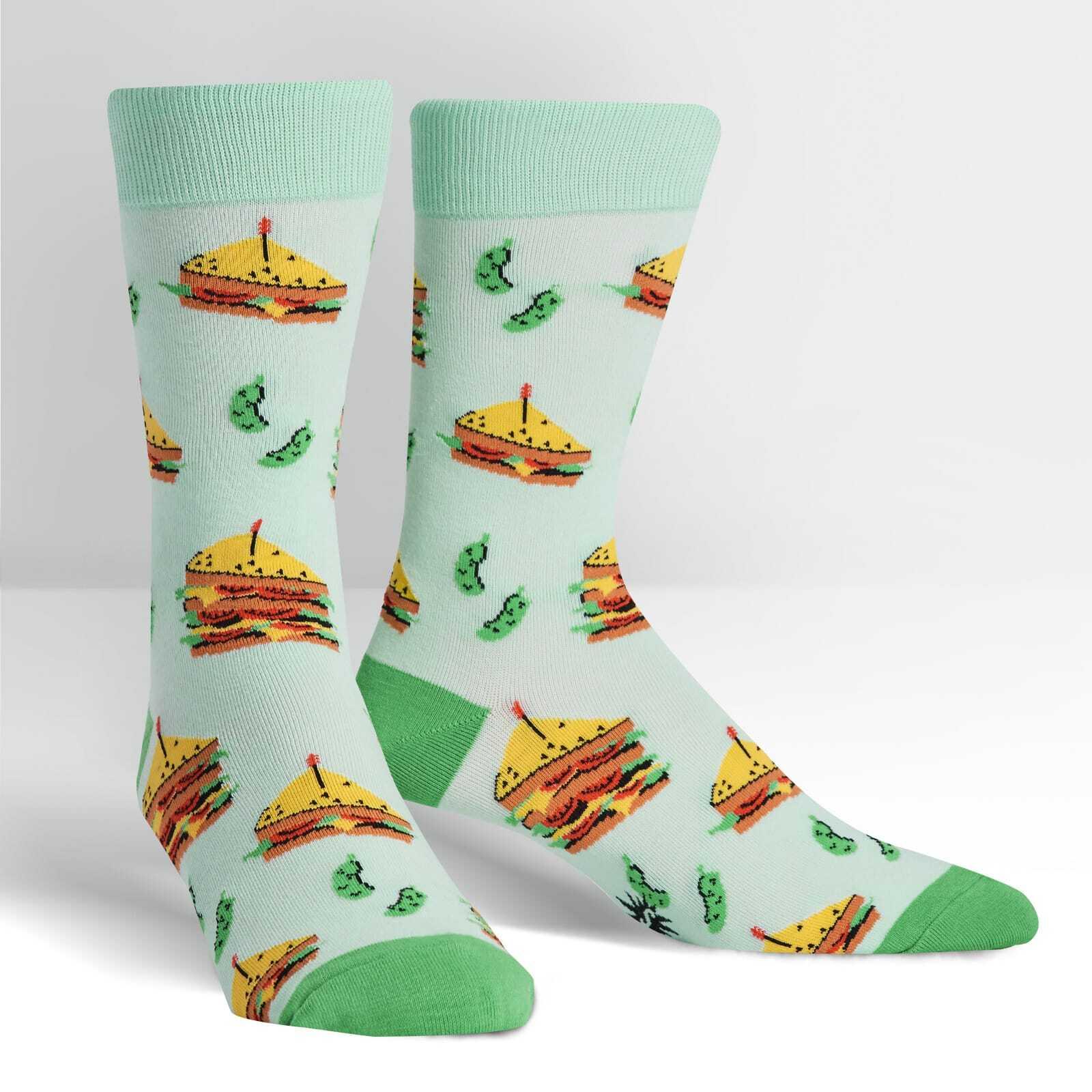 Join the Club - Favorite Sandwich Teal Aqua Men's Crew Socks - Sock It to Me in Teal
