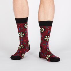 model wearing Who Darted? - Dart and Dart Board Crew Socks - Men's