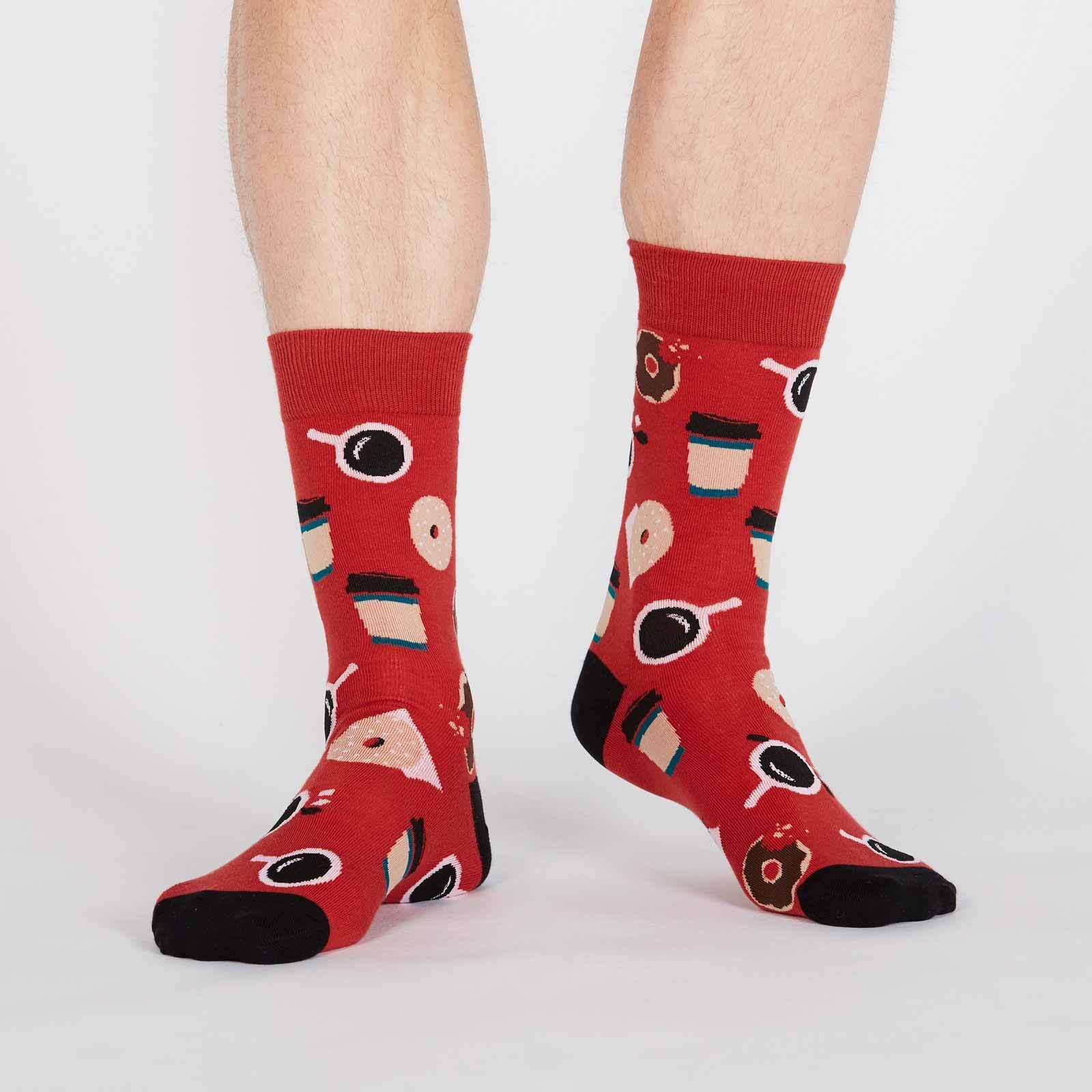 model wearing Coffee Break - Cafe Breakfast Crew Socks Red - Men's