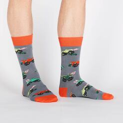 model wearing Monster Trucks Crew Socks Grey and Orange - Men's