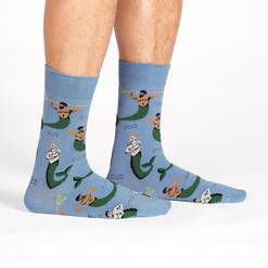 model wearing Mermen Crew Socks Blue and Green - Men's