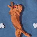 fabric detail of Raise the Woof - Dancing Dogs and Chew Bones Crew Socks Blue - Men's