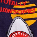 fabric detail of Totally Jawsome! - Great White Shark Crew Socks Blue - Men's
