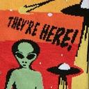 fabric detail of They're Here - UFO Alien Invasion Crew Socks Black - Men's