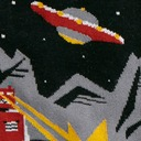 fabric detail of Zap! Zap! - Destructive Robots Dogs and UFOs Crew Socks Black - Men's