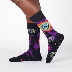 model wearing Helix Nebula - 50th Anniversary Moon Landing Outer Space Nebula Colorful Crew Socks Black - Men's