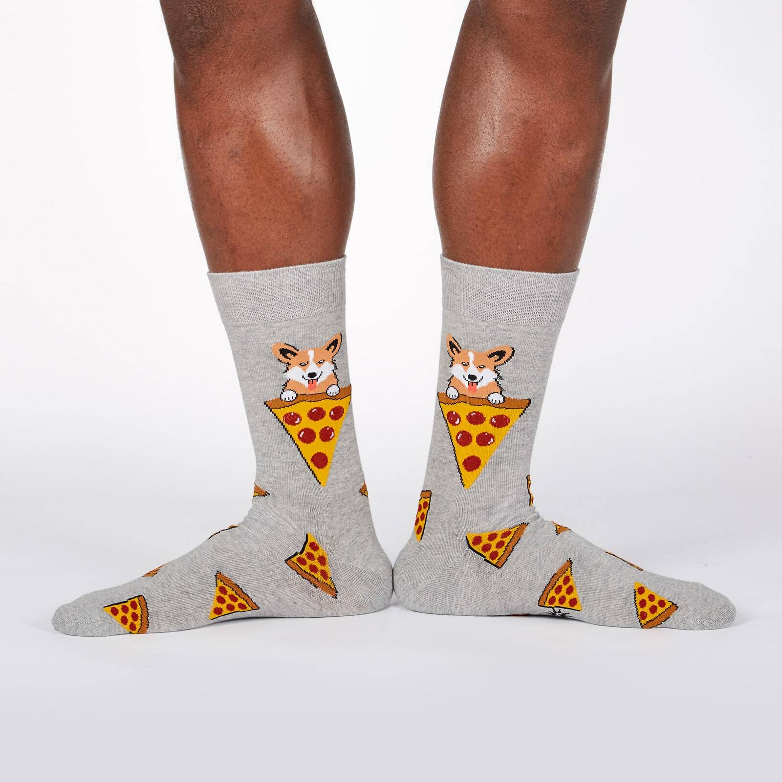 model wearing Man's Best Food - Corgi and Pizza Crew Socks Heather Grey - Men's