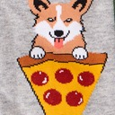 fabric detail of Man's Best Food - Corgi and Pizza Crew Socks Heather Grey - Men's