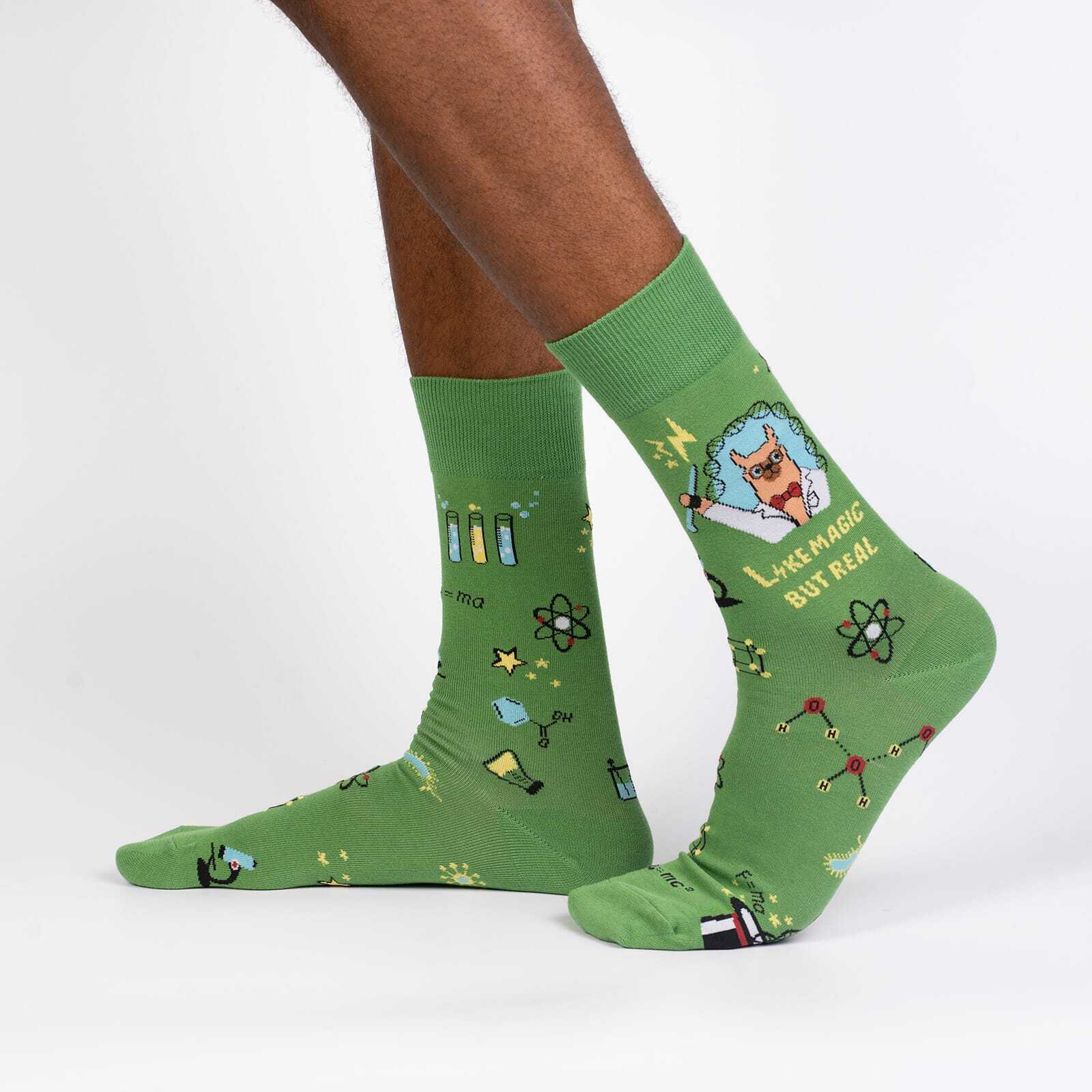 Trust Me, Llama Scientist - Funny Llama Science Crew Socks Green - Men's in Green