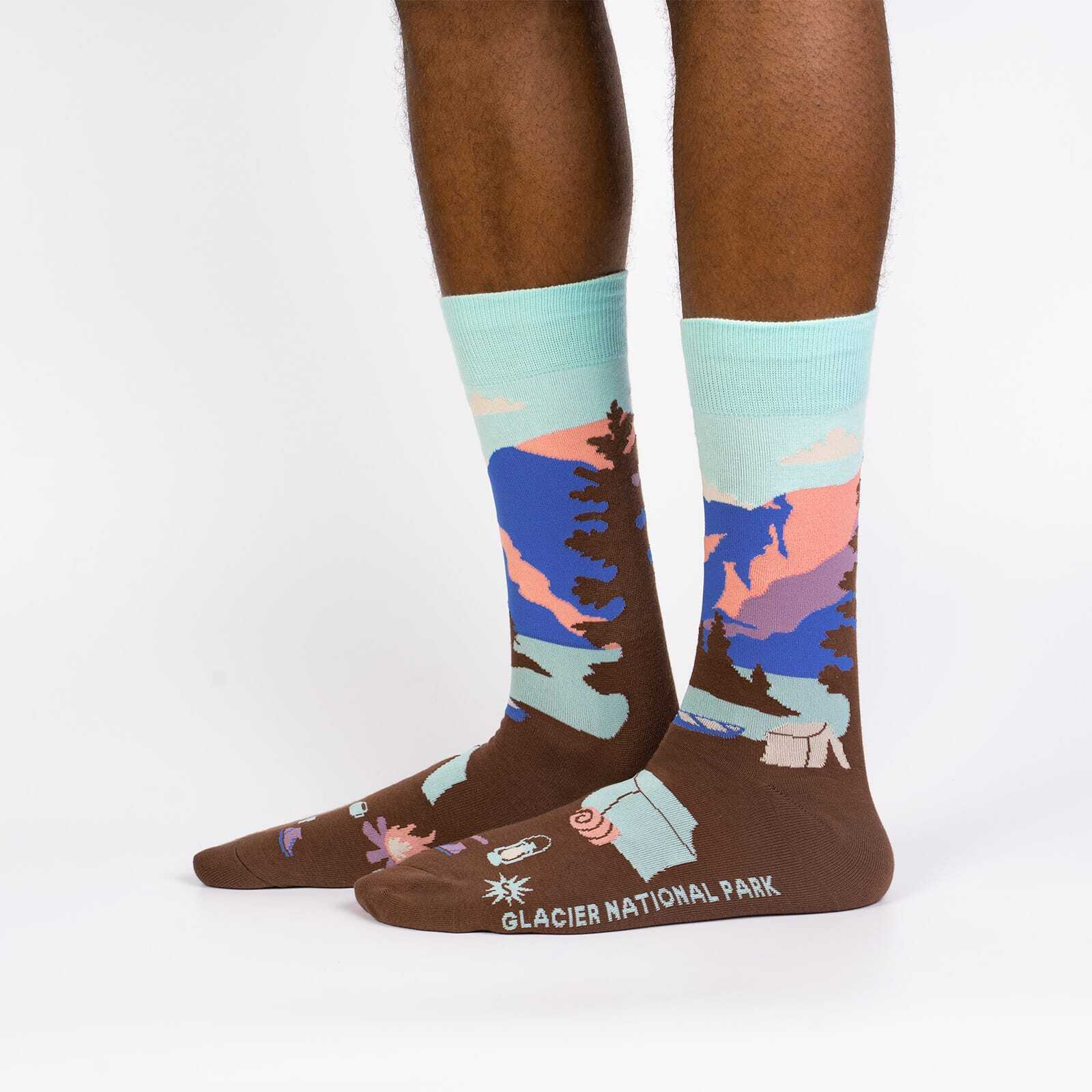 Glacier National Park - Road Trip Travel Crew Socks Brown - Men's in Brown