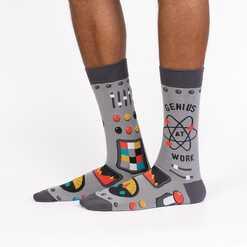 Genius At Work - Science Math Crew Socks Grey - Men's in Grey