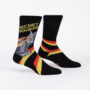 Secret Powers - Superhero Cat Crew Socks Black - Men's in Black
