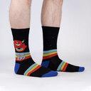 model wearing Stay Weird - Crazy Monster Crew Socks Black - Men's