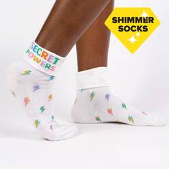 Secret Powers - Shimmer Lightning Bolt Turn Cuff Socks White - Women's in White