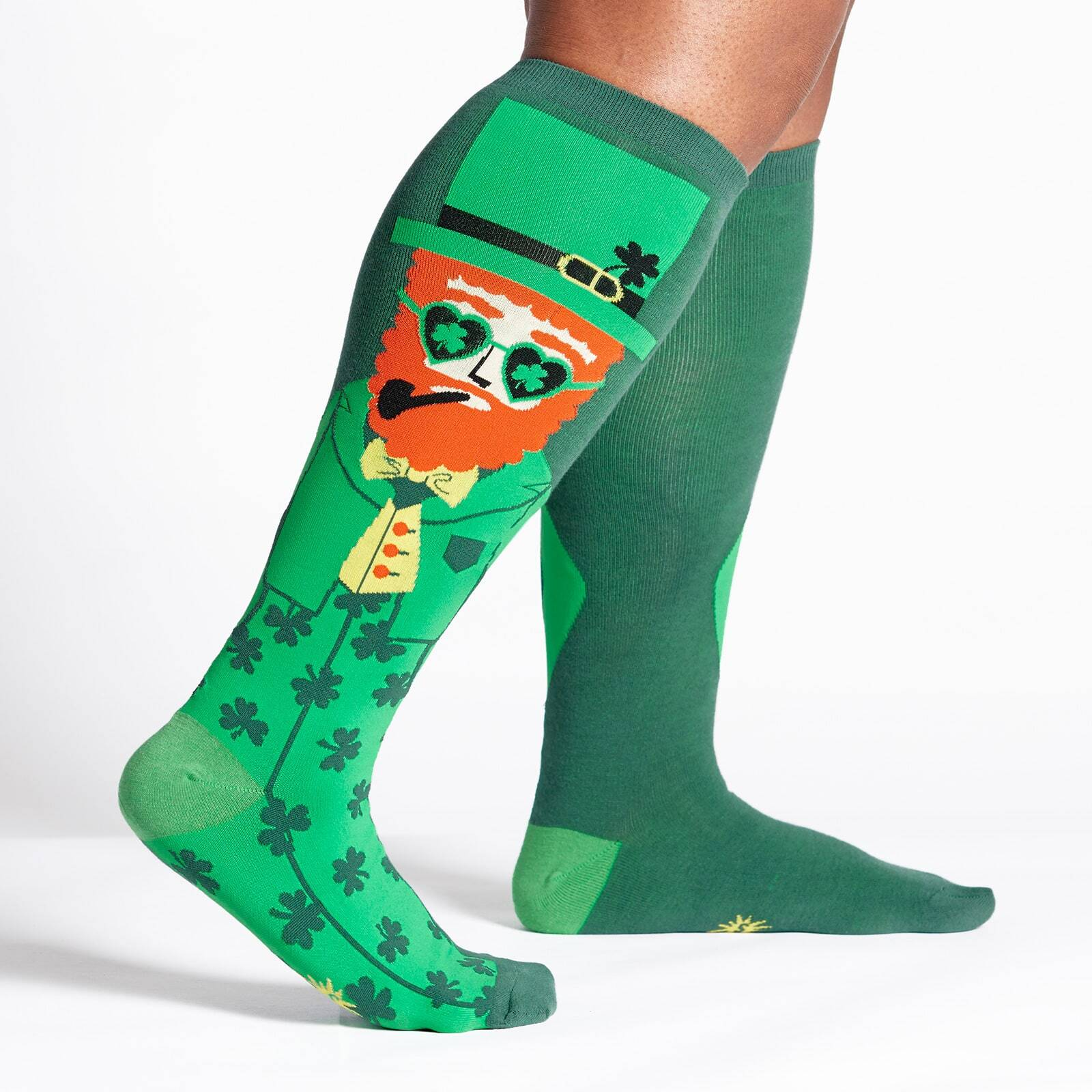 model wearing Your Lucky Charm - Wide Calf - St. Patrick's Knee High Socks Green - Unisex