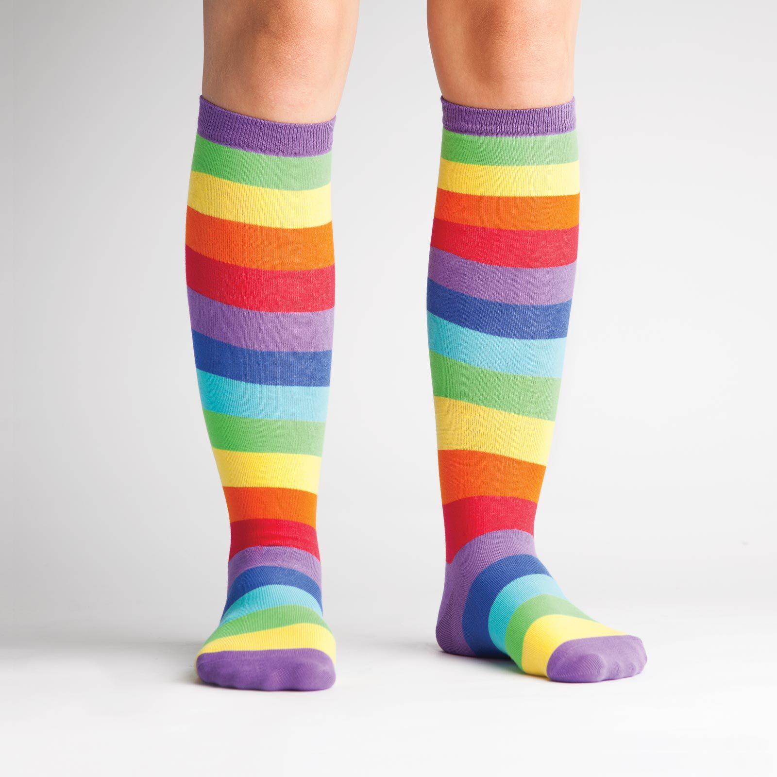 model wearing Super Juicy - Wide Calf - Rainbow Knee High Socks - Unisex