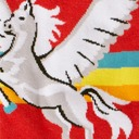 fabric detail of STRETCH-IT™ Retro Pegasus - Wide Calf - Winged Horse Classic Striped Knee High Socks Red - Unisex