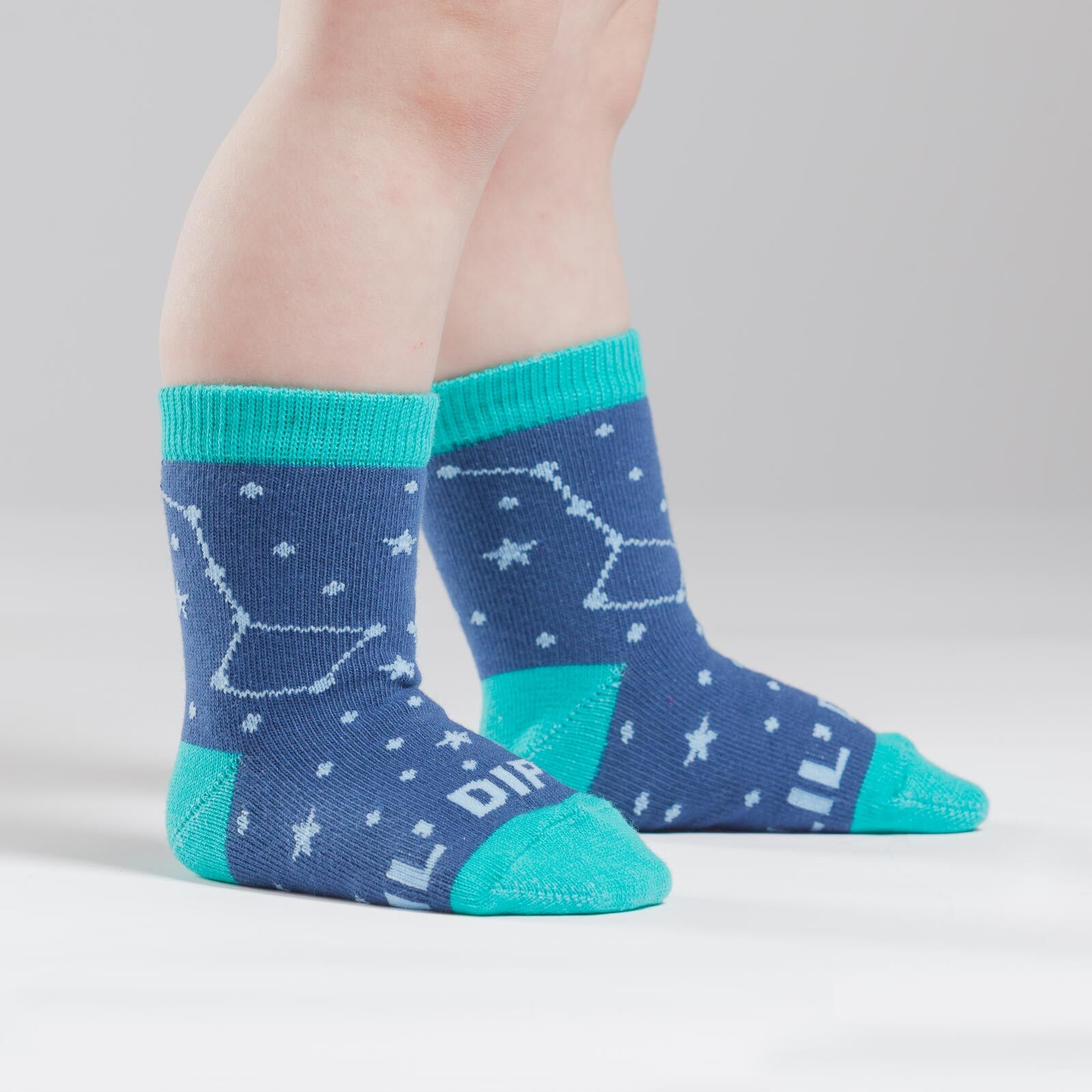 model side view of Lil' Dipper - Constellation Crew Socks Blue - Toddler
