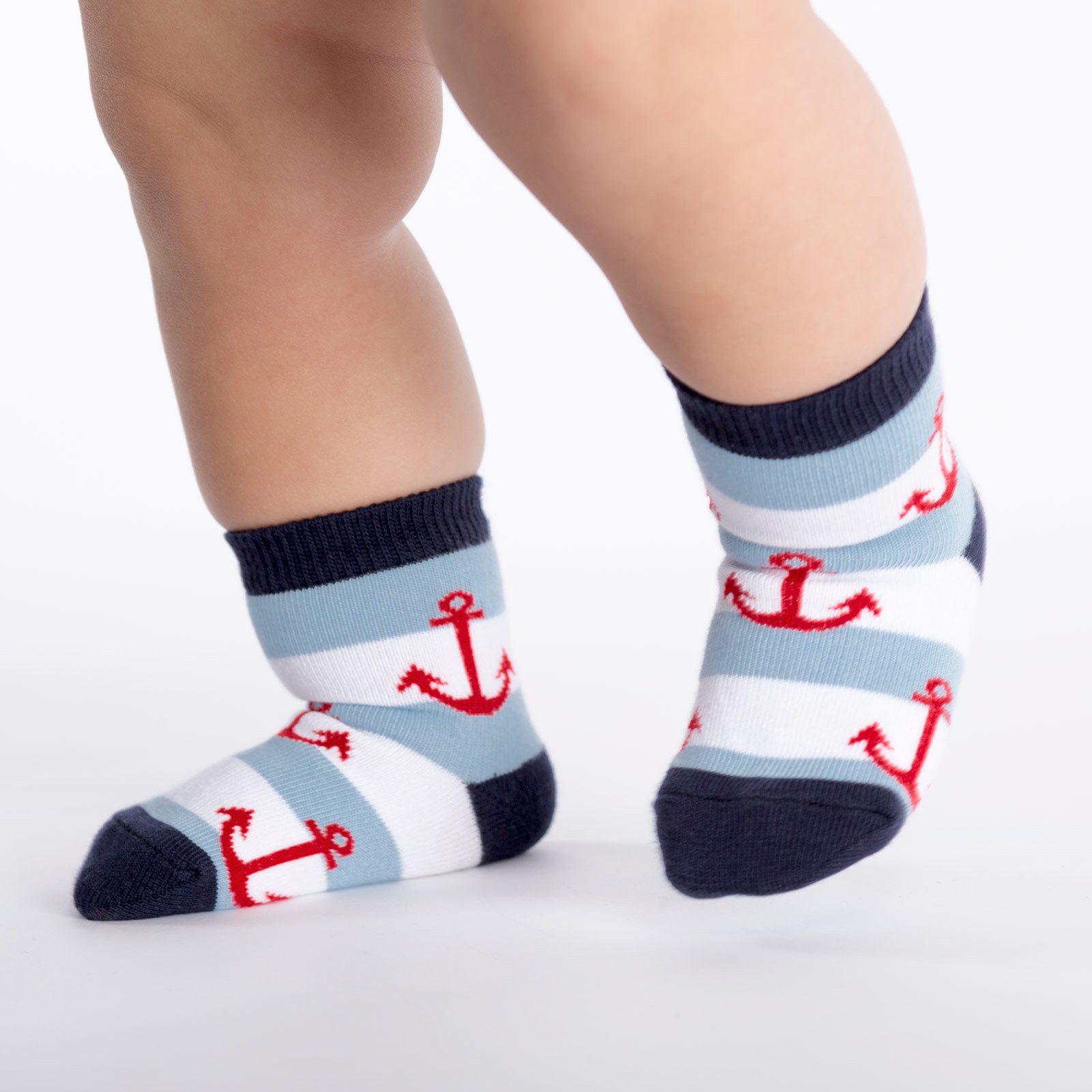 model wearing Anchors - Anchor Crew Socks Blue - Toddler
