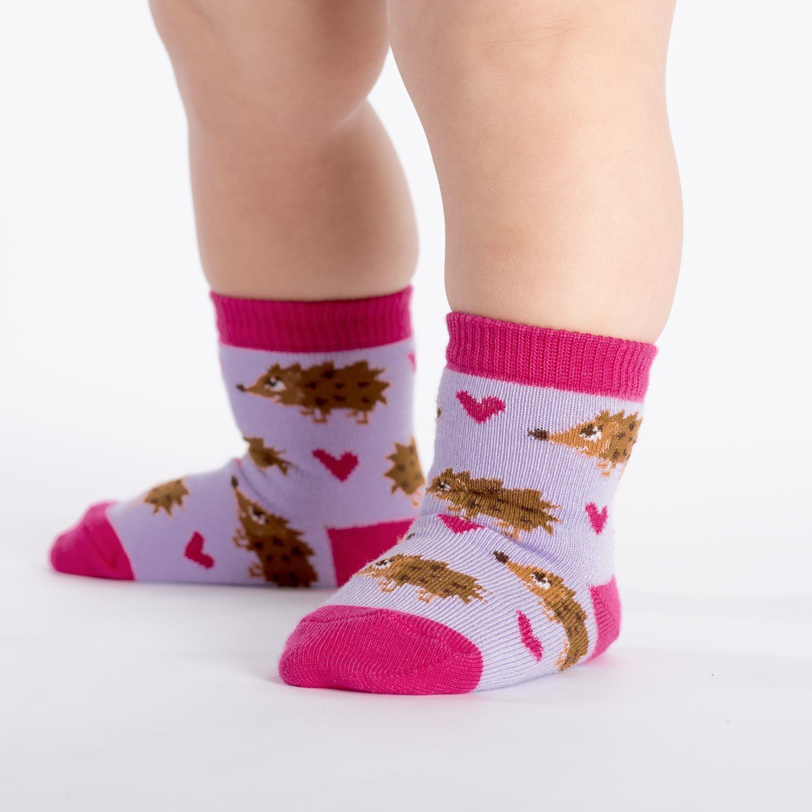 model wearing Hedgehog Heaven - Hedgehog Crew Socks Pink - Toddler