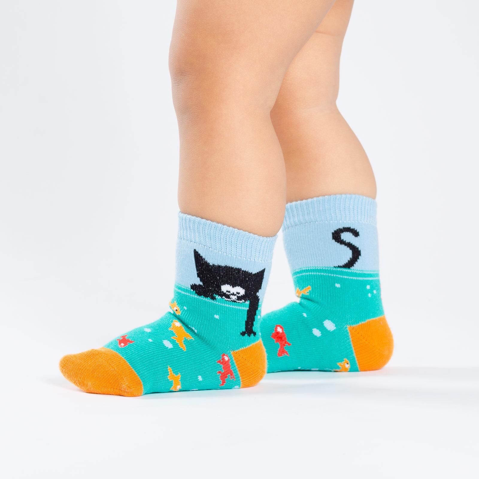 model side view of Gone Fishn' - Cat Crew Socks Teal - Toddler