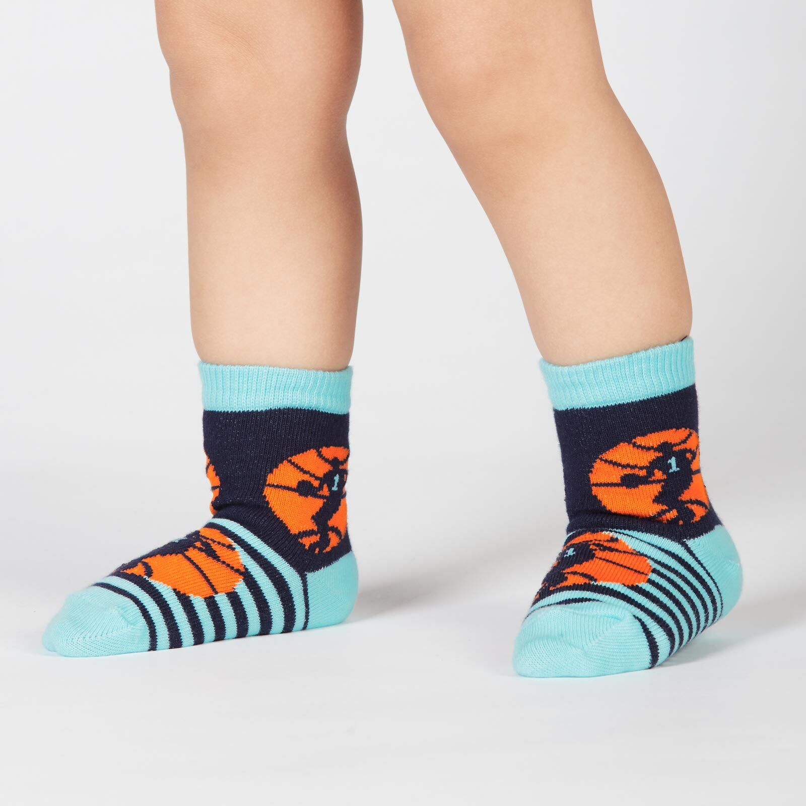 model wearing Nothin' But Net - Basketball Sport Crew Socks Blue - Toddler