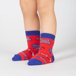 model wearing Here in my Car - Car Crew Socks Blue and Red - Toddler