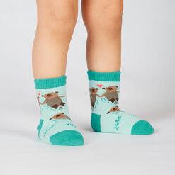 model wearing My Otter Half - Otter Crew Socks Blue - Toddler