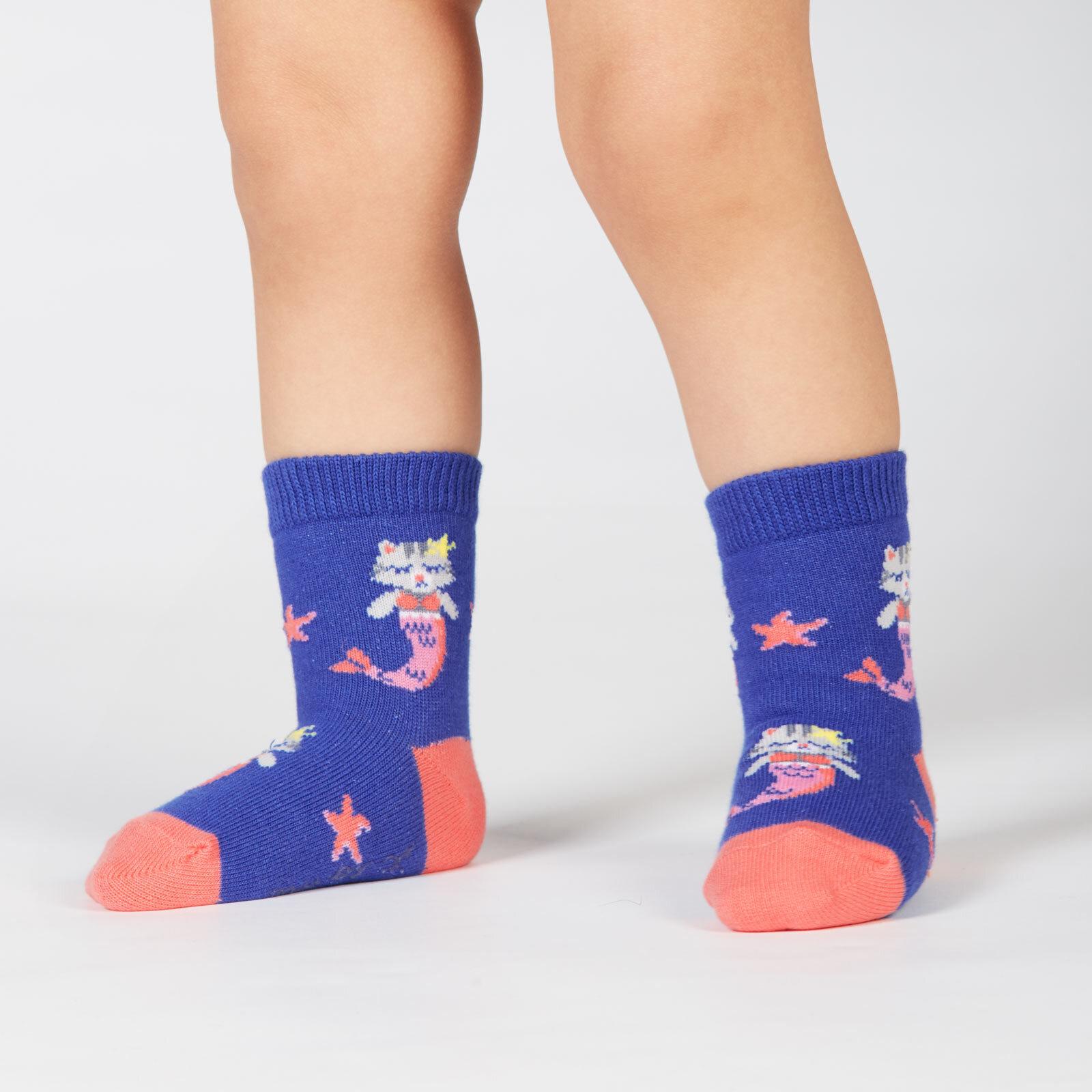 model wearing Purrmaid - Mermaid Cat Crew Socks Turquoise - Toddler