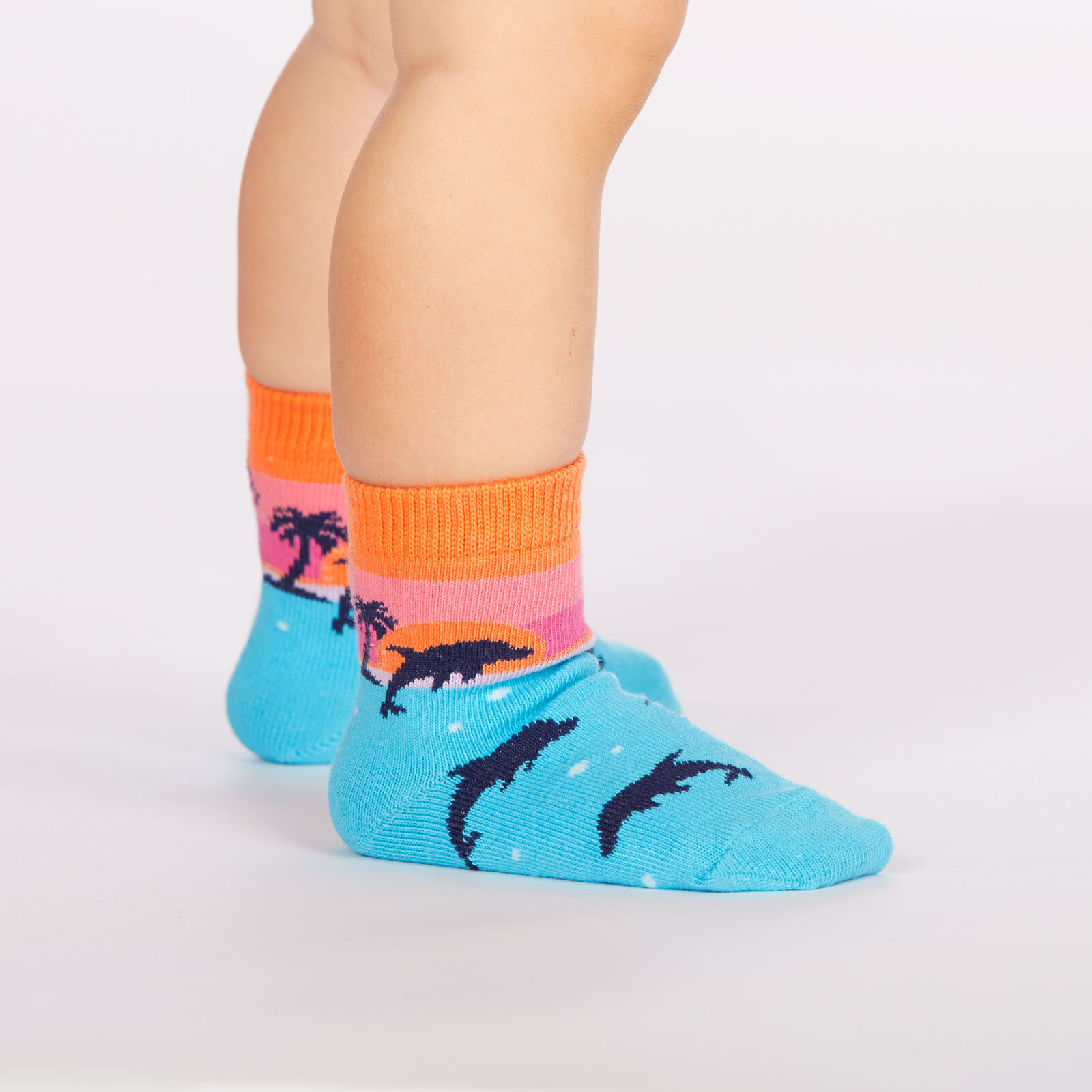 model side view of Dancing Dolphins - Dolphin Crew Socks Blue - Toddler