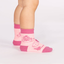 model side view of Once Upon A Time - Fairy Tale Crew Socks Pink - Toddler
