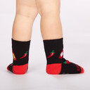 model rear view of Mild Sauce - Hot Sauce Crew Socks Black and Red - Toddler