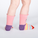 model rear view of Paws-itively Adorable - Rainbow Cat Crew Socks With Pop Up Ears - Toddler's