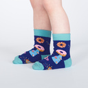 model side view of Paws-itively Adorable - Rainbow Cat Crew Socks With Pop Up Ears - Toddler's