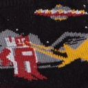 fabric detail of Zap! Zap! - Destructive Robots Dogs and UFOs Crew Socks Black - Toddler
