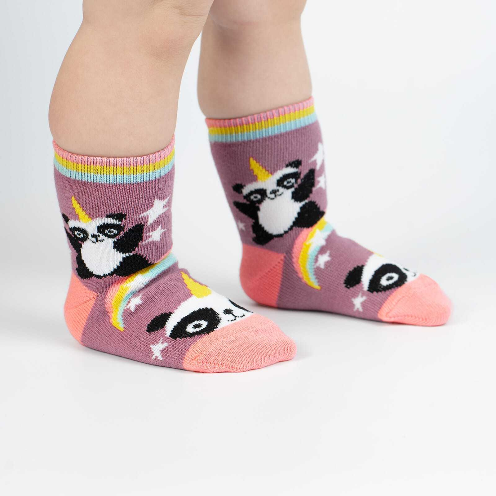 Pandacorn - Fun Mythical Panda Unicorn Crew Socks Pink - Toddler in Pink