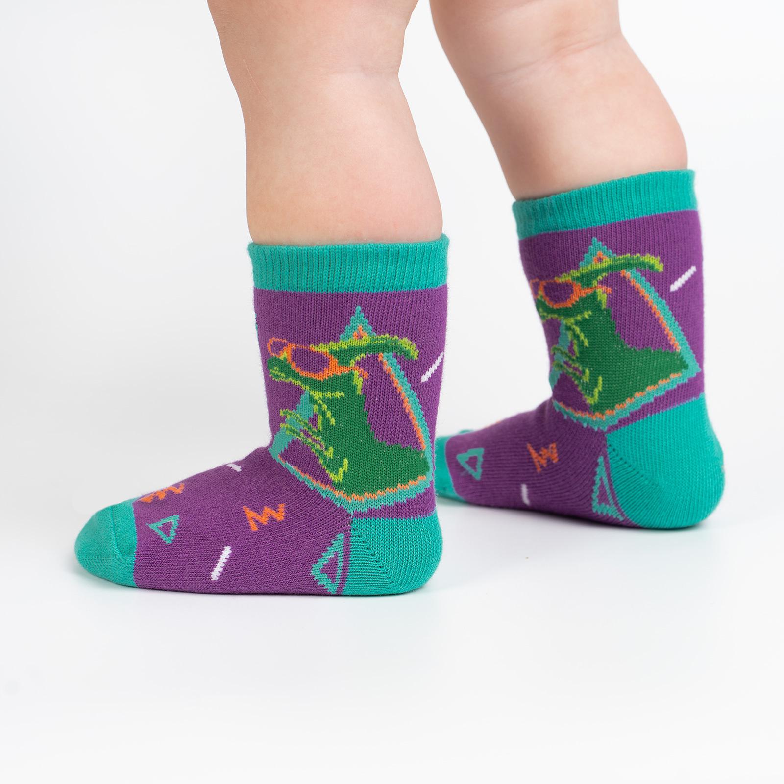 Jurassic Party - Dinosaur Fun Retro Crew Socks Purple - Toddler in Purple