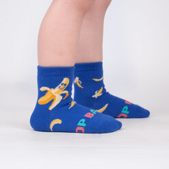 model wearing Top Banana - Funny Banana Crew Socks Blue - Toddler