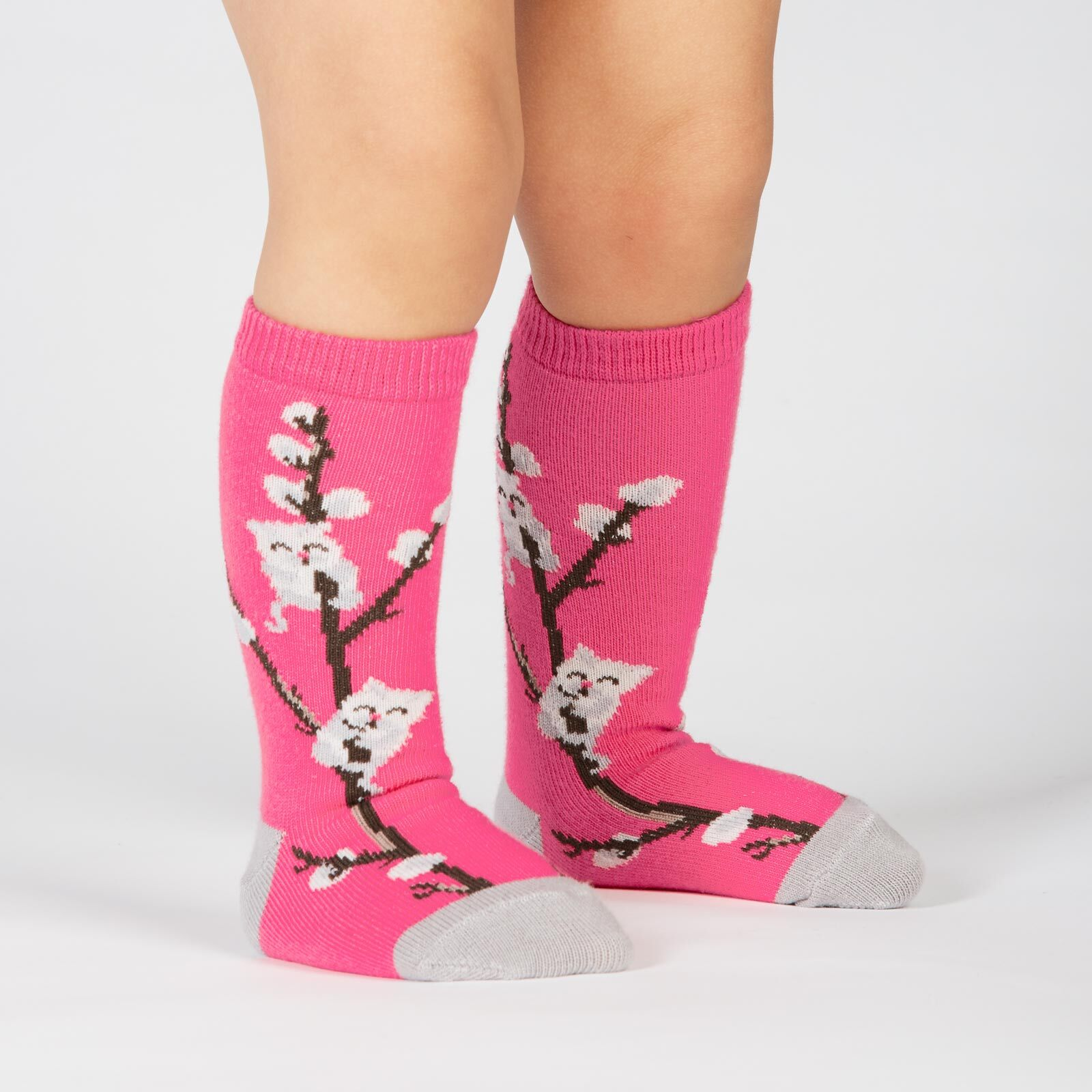 model wearing Kitty Willows - Cat Knee High Socks Pink - Toddler