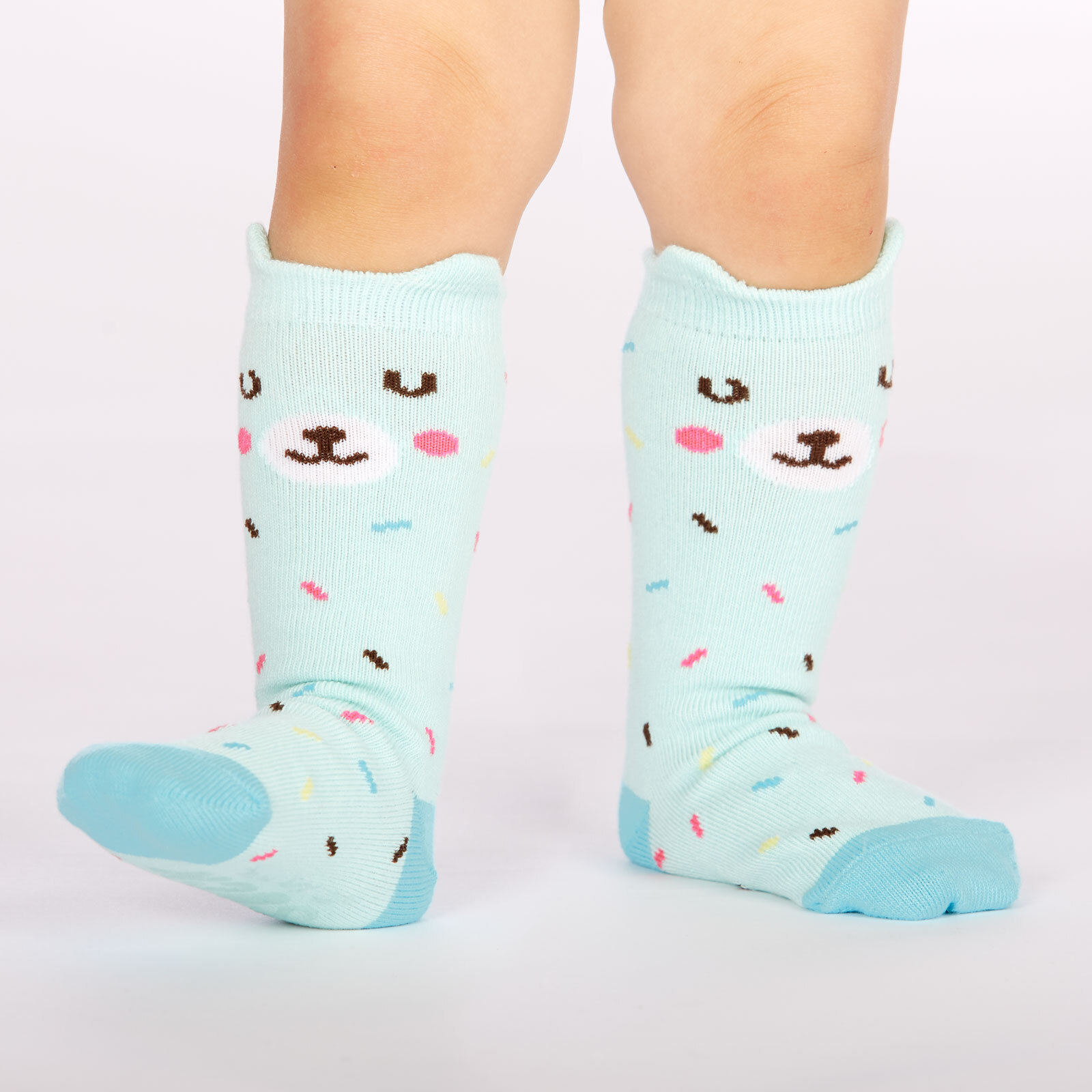 model wearing Bearly Sprinkled - Pop Up Ears - Bear Crew Socks Blue - Toddler
