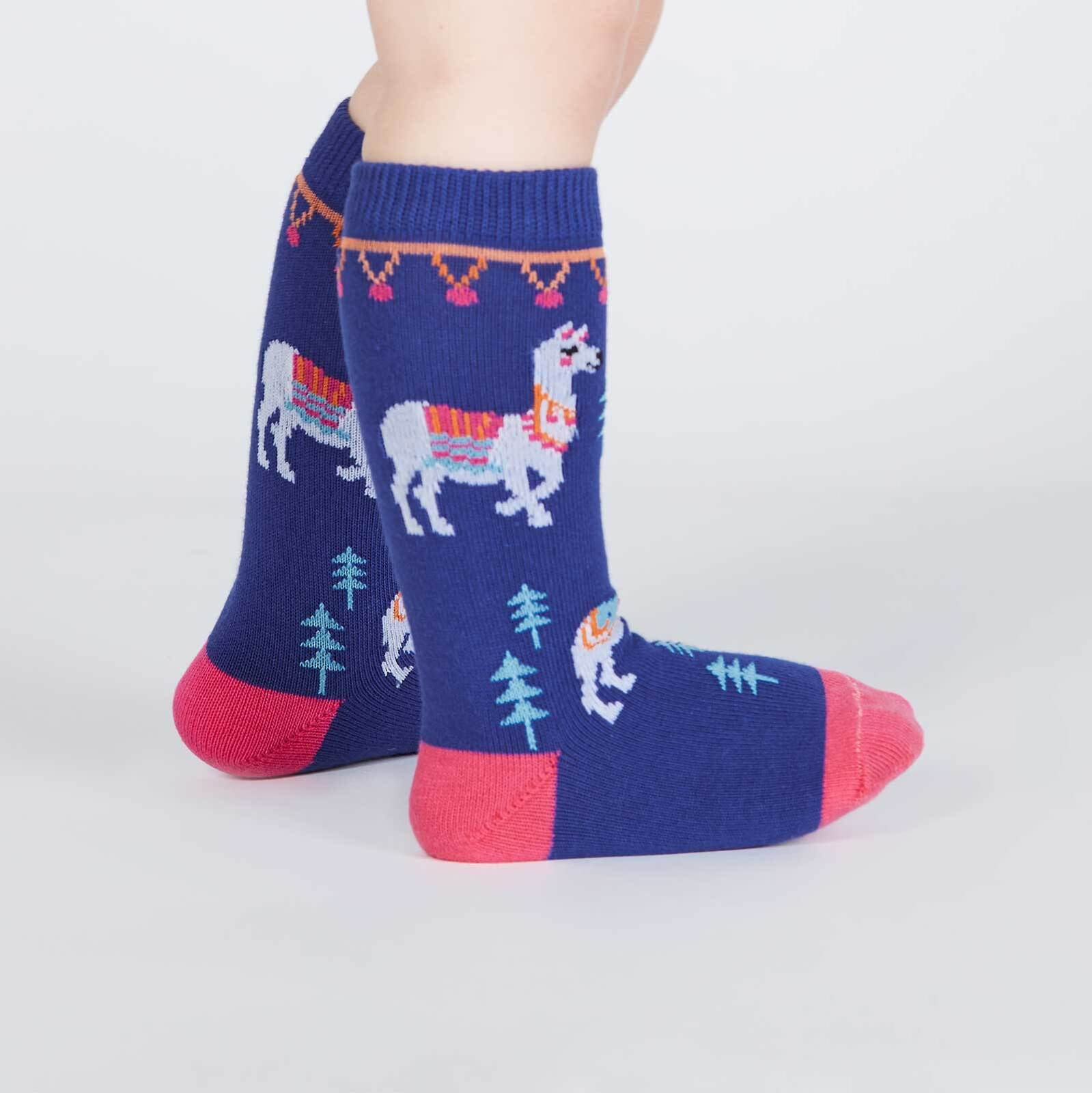 model side view of ¿Cómo te Llamas? - Llama Knee High Socks - Toddler's