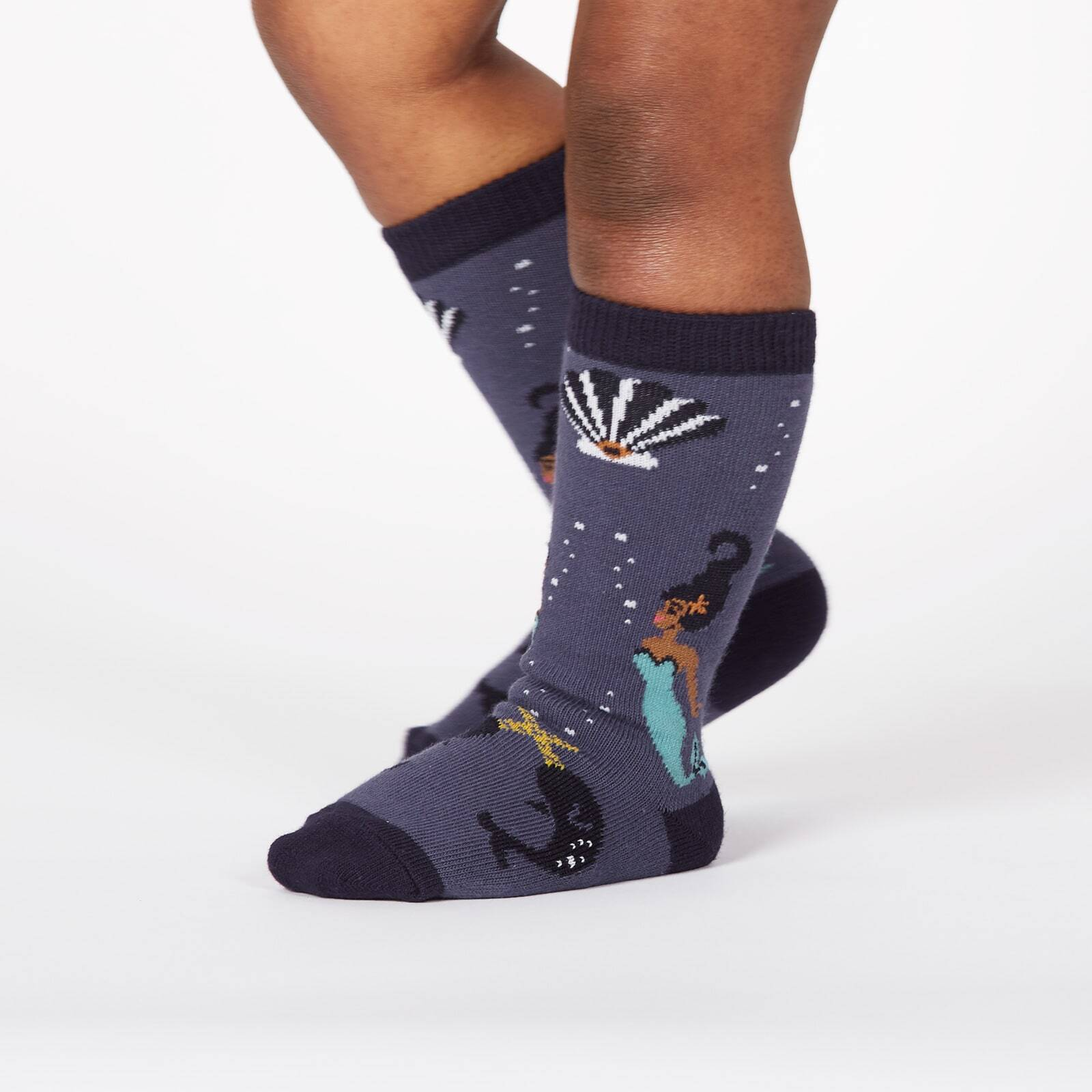 model wearing Deep Sea Queen - Mermaid and Sea Creatures Knee High Socks Grey - Toddler