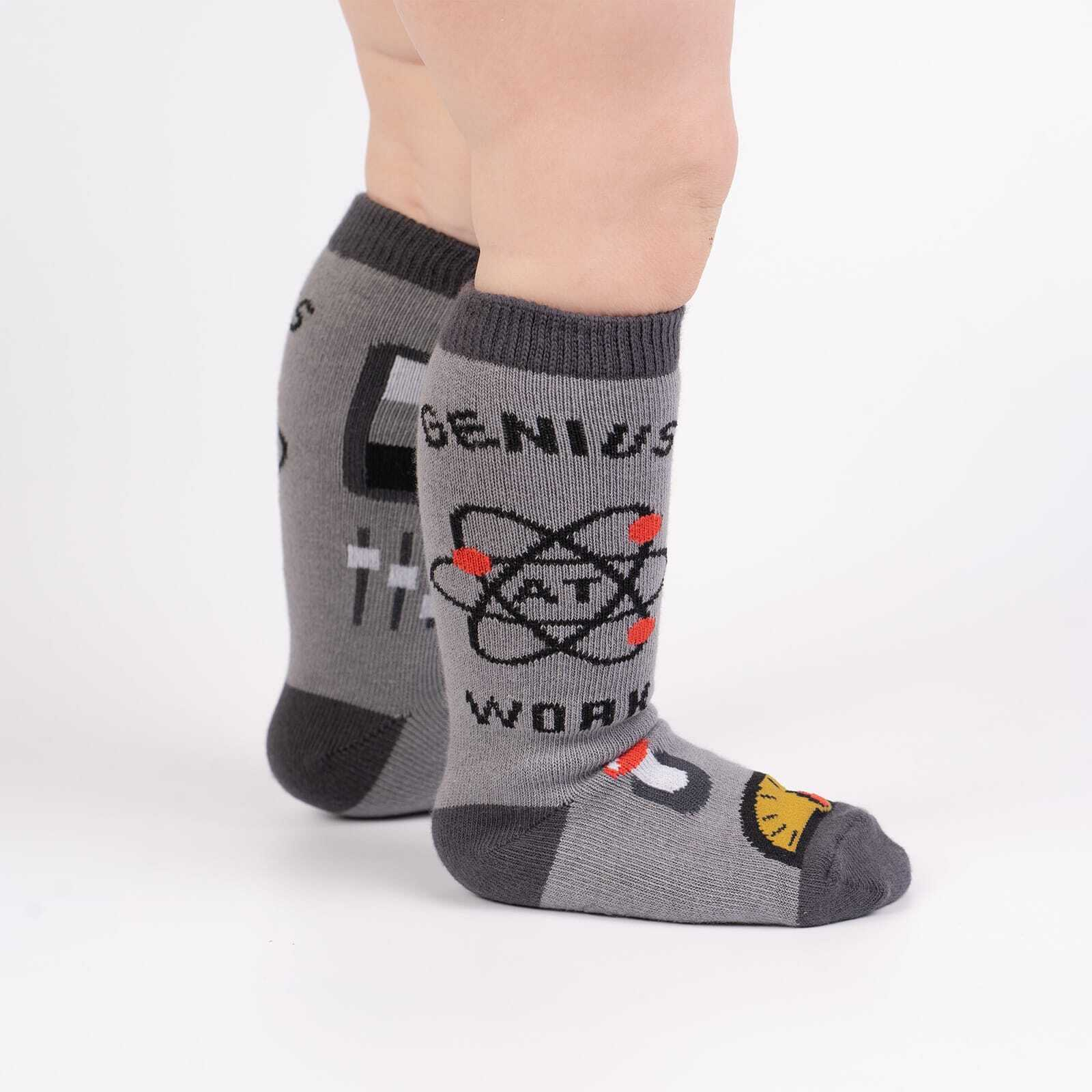 Genius At Work - Science Math Knee Socks Grey - Toddler in Grey