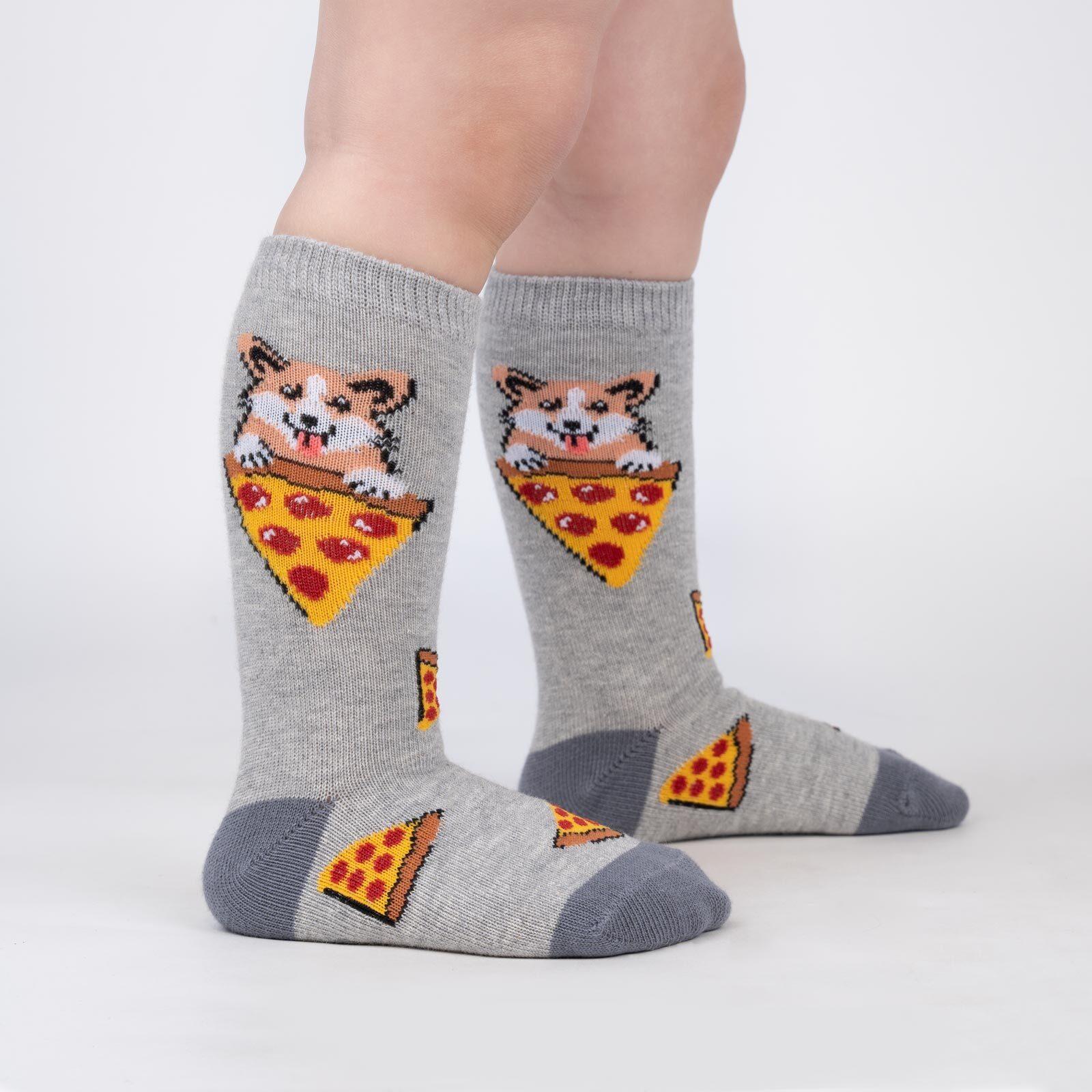model wearing Kid's Best Food - Adorable Corgi Pizza Knee High Socks Grey - Toddler