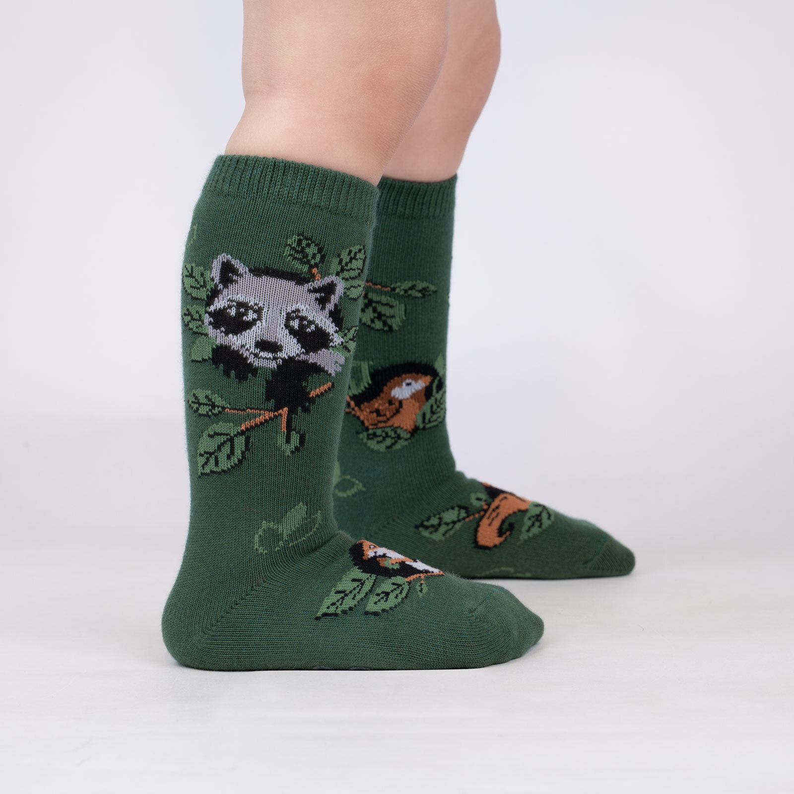 model wearing Woodland Watchers - Adorable Nature Animals Knee High Socks Green - Toddler